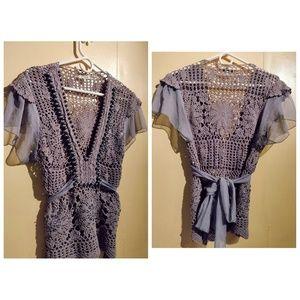 ♡ Unique Crochet Beaded Blouse ♡
